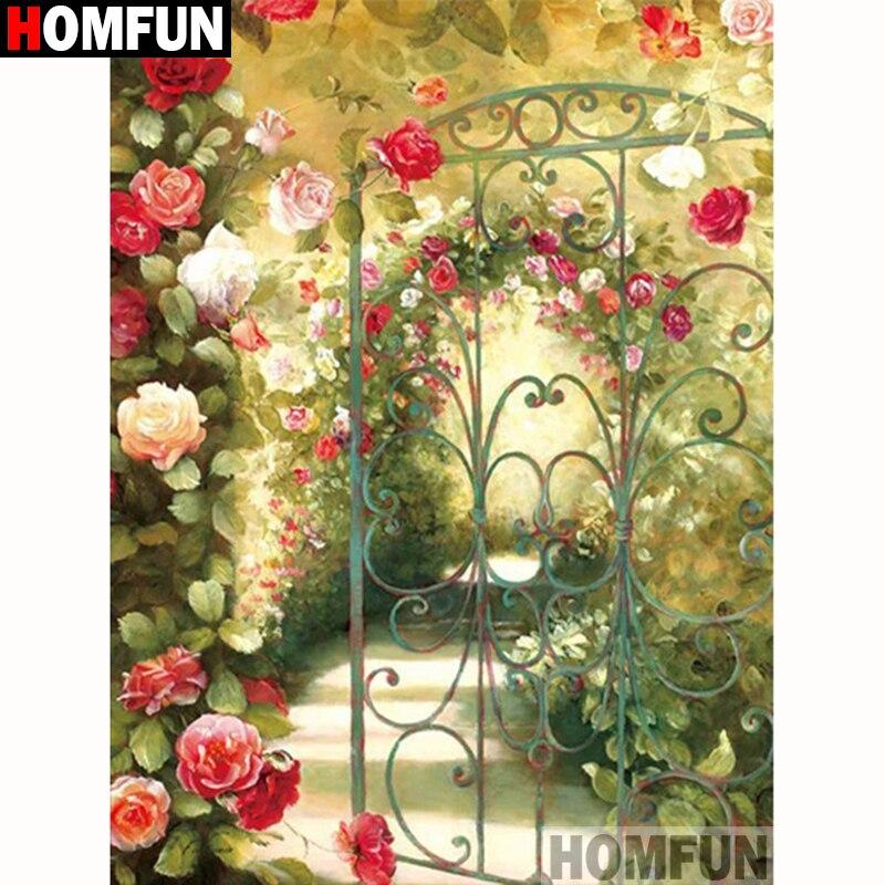 """HOMFUN Completo Quadrado/Rodada Broca 5D DIY Pintura Diamante """"Flor paisagem"""" 5D Bordado Ponto Cruz Decoração de Casa presente A18211"""