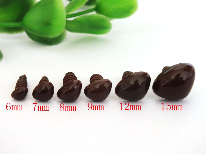 Free Shipping!! 60pcs 6mm/7mm/8mm/9mm/12mm/15mm safety animal nose in brownplastic for doll/Come With Washers Each size --10pcs