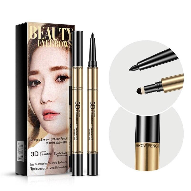 BIOAOUA, 3 colores, Natural, giratorio, maquillaje de larga duración, resistente al agua lápiz de cejas, lápiz para cejas, belleza, fácil de usar, maquillaje
