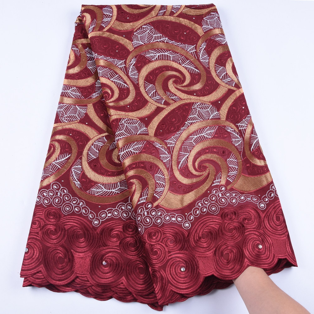 Gran oferta, encaje suizo de gasa de algodón africano, tela 2019 de alta calidad, encaje de gasa suizo roja en Suiza para vestido de novia 1614