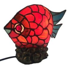 Mode créative Tiffany verre poisson lampe de Table pour Foyer chambre Bar appartement verre veilleuse H 22cm 1038
