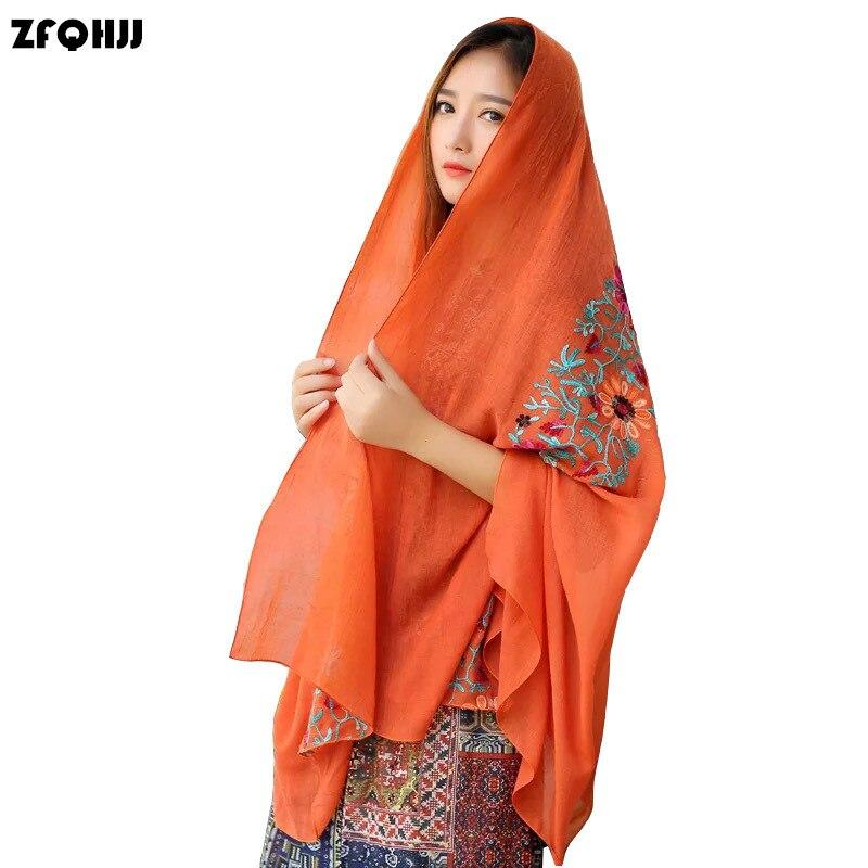 ZFQHJJ, bufanda larga bordada de algodón de muselina para mujer, bufanda Hijab 2017, Bandana, Pashmina, chal, primavera Otoño Invierno