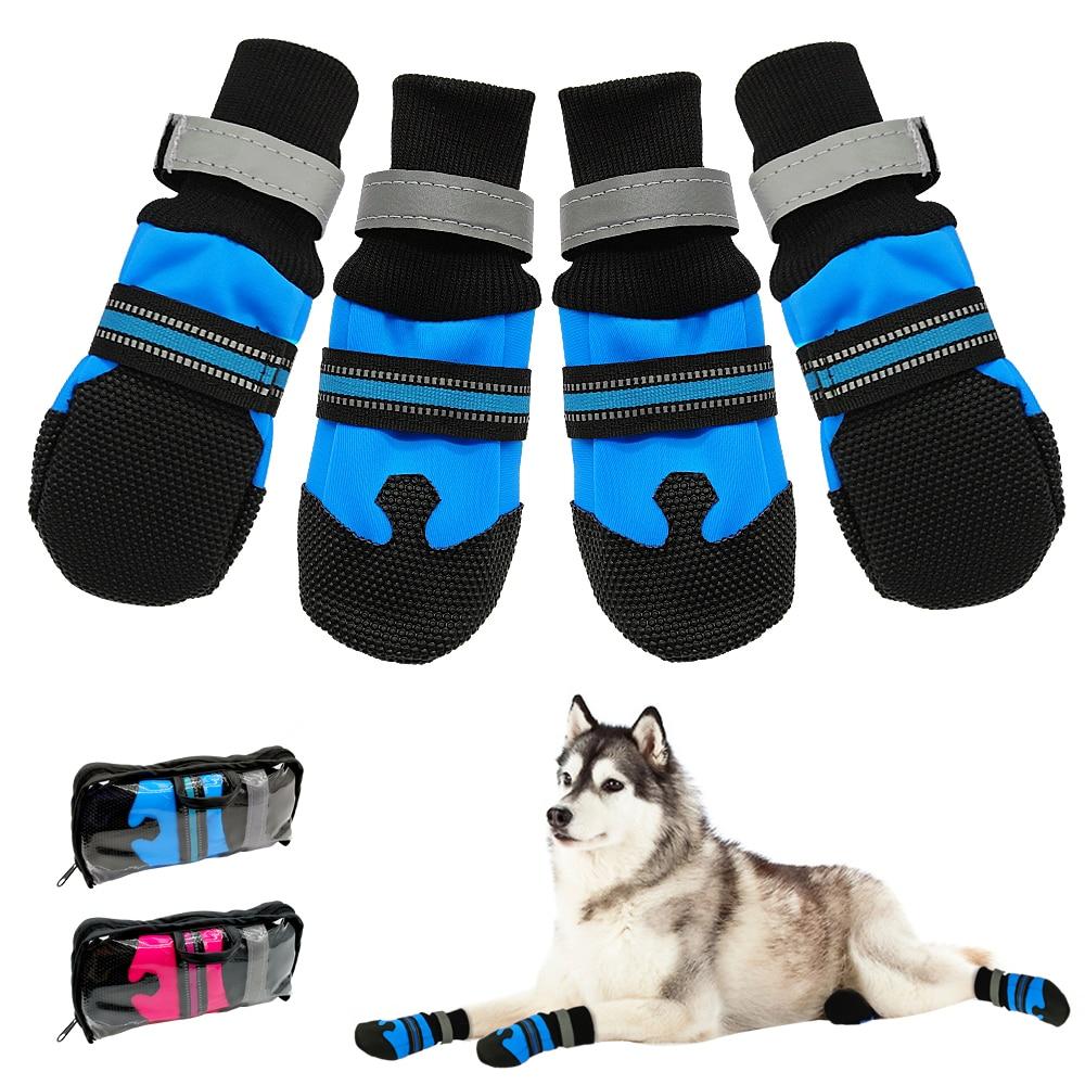 4pcs Waterproof Winter Pet Dog Shoes Anti-slip Snow Pet Boots Paw Protector Warm Reflective For Medium Large Dogs Labrador Husky
