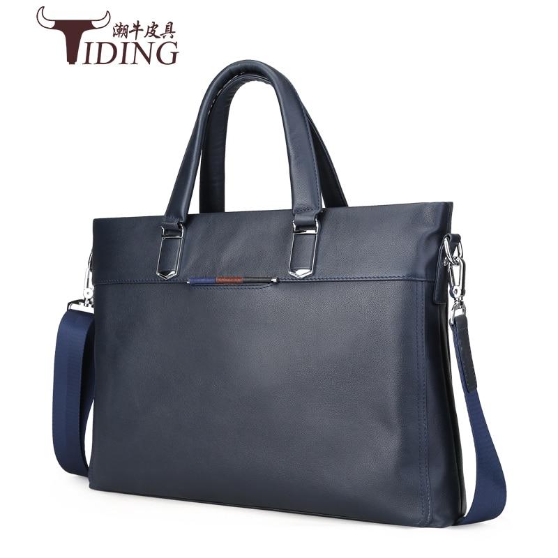 men s bags 2017 new  briefcase cow leather business dress casual vintage fashion brand handbags man shoulder laptop