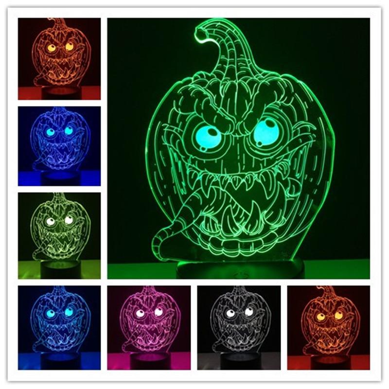 3D Halloween Pumpkin Decor LED Lamp 7 Color Change USB remote control Table Sleep Night Light Living Room Present for Chirdren