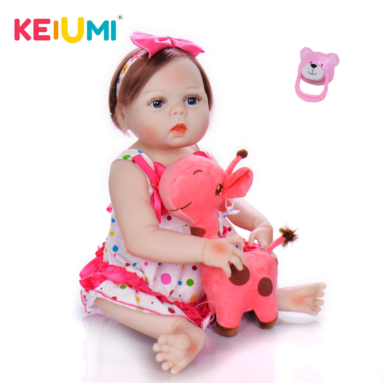 Keiumi bonito 57 cm silicone reborn bebê boneca de vinil cheio realista menina princesa bonecas do bebê crianças aniversário presentes natal fibra cabelo