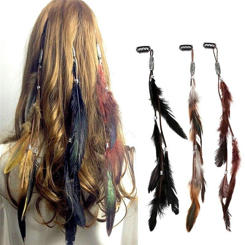 Diadema estilo bohemio PINKSEE, tocado de plumas Multicolor exóticas, pluma de pavo real de estilo nacional con accesorio para el cabello