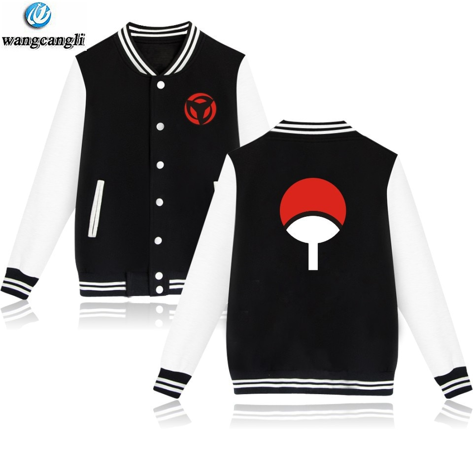 Diseño de Anime Naruto sudadera de béisbol chaqueta de béisbol de manga larga Uchiha Hatake Uzumaki Clan insignia impresa abrigo Unisex ropa