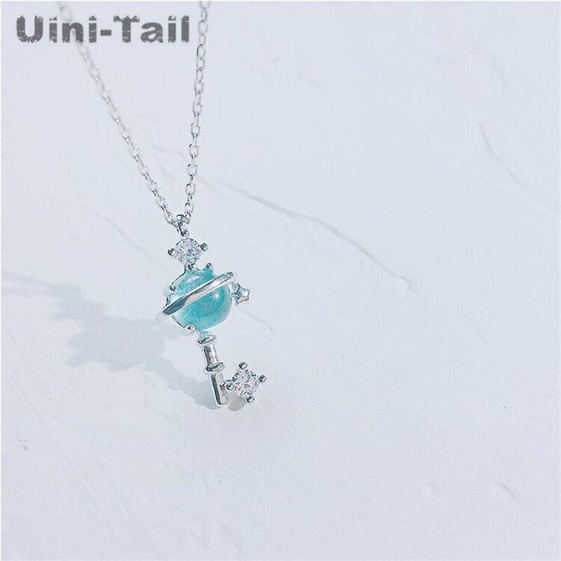 Uini-tail 2018 nuevo collar de plata esterlina 925 creativo Planeta Azul moda coreana tide flow dulce joyería universo