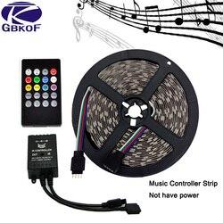 A música conduziu a tira 5 m smd5050 impermeável 60 leds/m tiras rgb conduziu a luz de tira + música sensor de som ir controlador/24 chaves/44 chaves fita