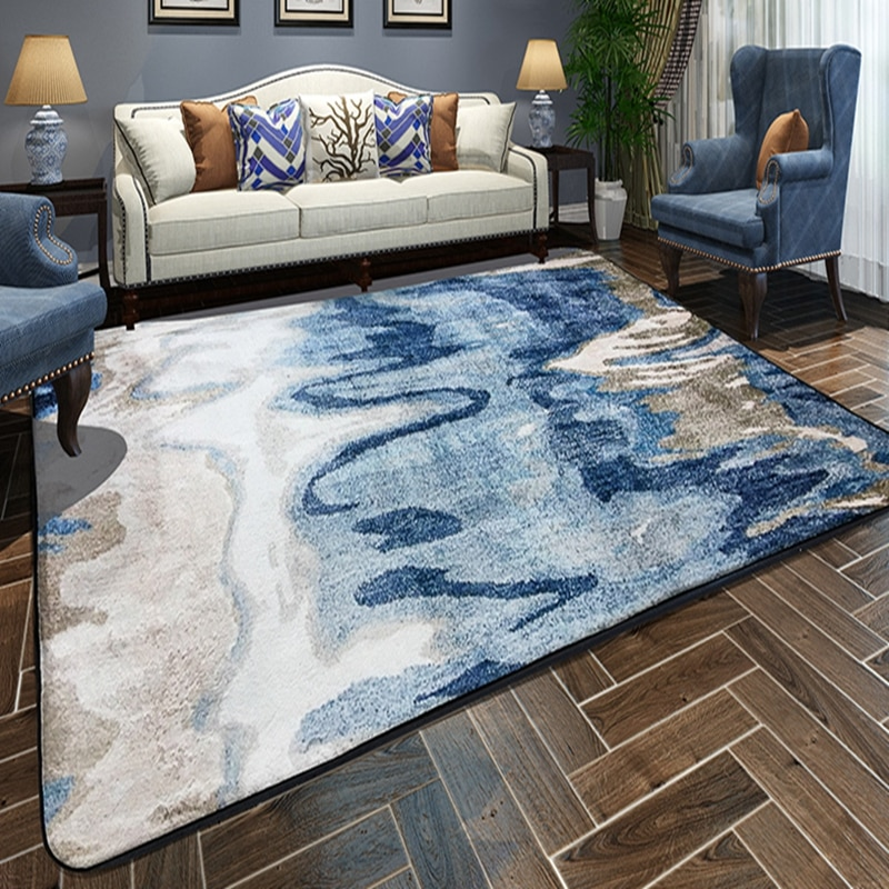 Nordic Blue White Floor Carpet Area Rugs Bedroom Non-Slip Rectangle Floor Mat Super Soft Living Room Decorative Antistat Carpets