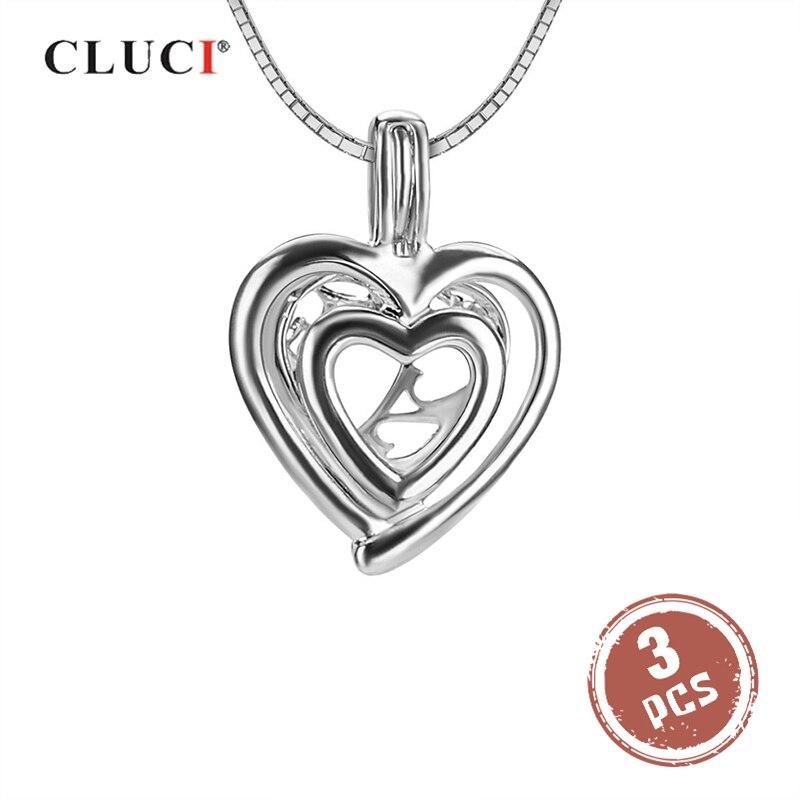 CLUCI 3pcs Romantic Silver 925 Double Love Heart Pearl Locket Pendant 925 Sterling Silver Women Necklace Pendant Jewelry SC013SB