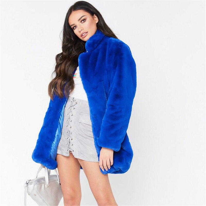 Kobiety faux futro płaszcz jesień zima luźne miś pluszowy płaszcz dla kobiet imitacja grube ciepłe pluszowe kurtka niebieski długi futrzany płaszcz A1755