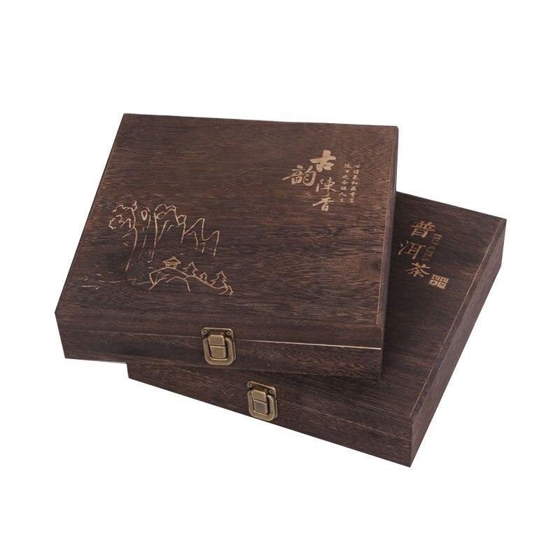 XMT-HOME tampa articulada queimado paulownia madeira caixa de lata para o chá puer 357g Yunnan chá puer Puerth 1 pc