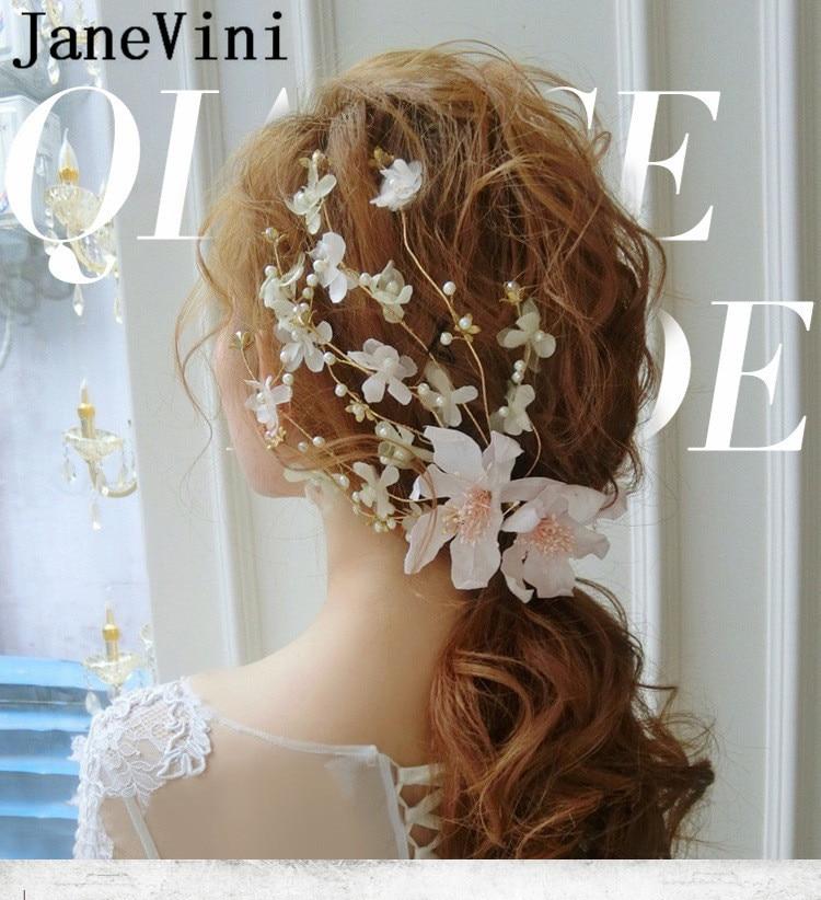 JaneVini Fabuloso vestido de Noiva Grampos de Cabelo para As Mulheres Pena Flores de Noiva Acessórios Para o Cabelo Do Casamento da Pérola barrette Cheveux Mariage 2019