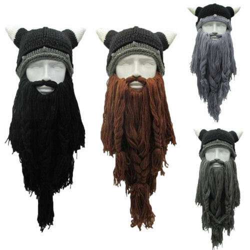 Cosplay Funny Crazy Ski Mask Caps Long Beard Barbarian Beanie Viking Hat