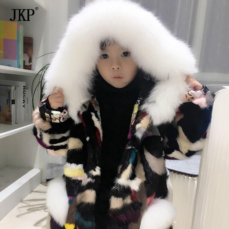 Children girl boy Mink Fur Jacket coat Kids Real Natural Mink fur coat Winter baby Mink Fur Coat