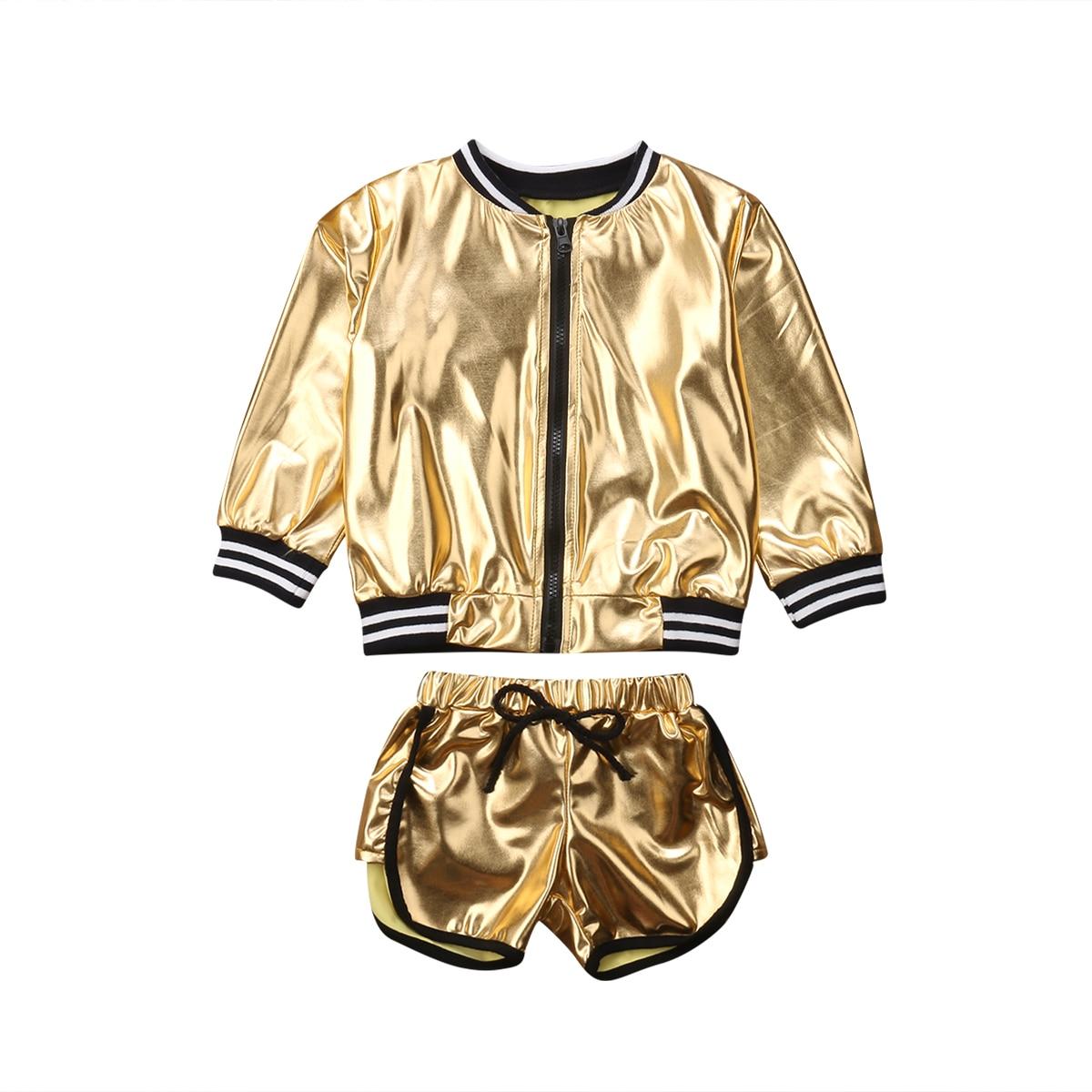 FOCUSNORM Fashion Toddler Kid Baby Girl Clothes Set Long Sleeve Shining Zip Top Coat Jacket+Shorts 2Pcs Outfits