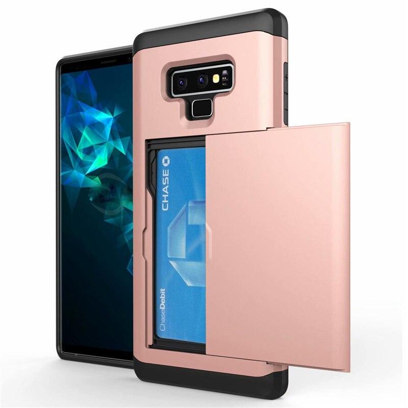 Funda deslizante para Samsung Galaxy S8 S9 S10 Plus Lite Note 8 9, funda con ranuras para tarjetas para iPhone 6 6S 7 8 Plus X XS MAX XR