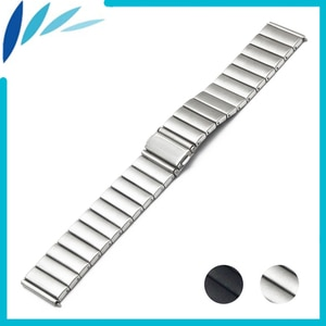 Stainless Steel Watch Band 22mm for Ticwatch 1 46mm Folding Clasp Strap Loop Wrist Belt Bracelet Black Silver + Spring Bar +Tool
