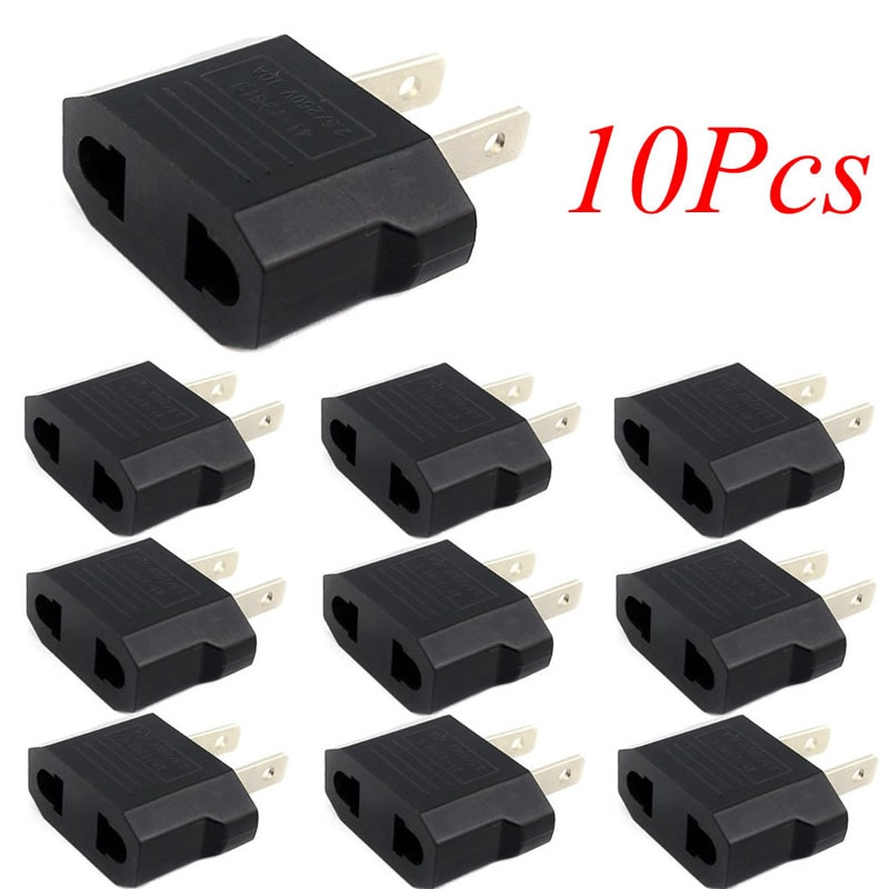 10pcs European Euro EU to US USA Plug Travel Charger Adapter Outlet Converter Wholesale Adapter C26