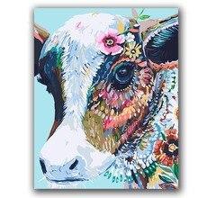Peinture abstraite de vache colorée par numéros danimaux sur toile, coloriage avec paquet de peinture, décor de hoom