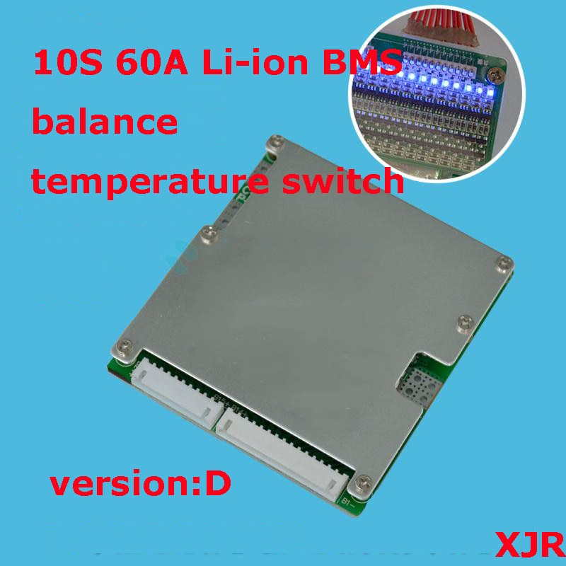 10S 60A versión D lipo polímero de litio BMS/PCM/PCB Placa de protección de batería para 10 paquetes 18650 Li-ion batería con Balance