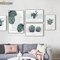 Affiche de peinture sur toile rose douce  serie plante verte moderne nordique  images murales dart pour salon  decoration de la maison