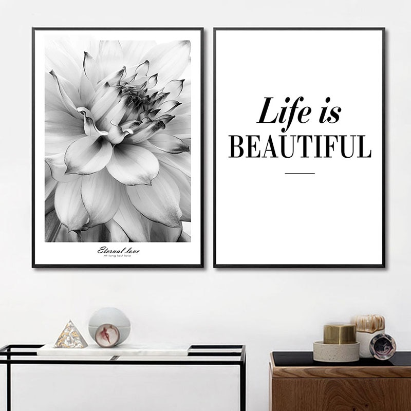Картина минималистичный черный белый цветок вдохновение постер жизнь художественная стена с цитатой картина скандинавские Декоративные К...
