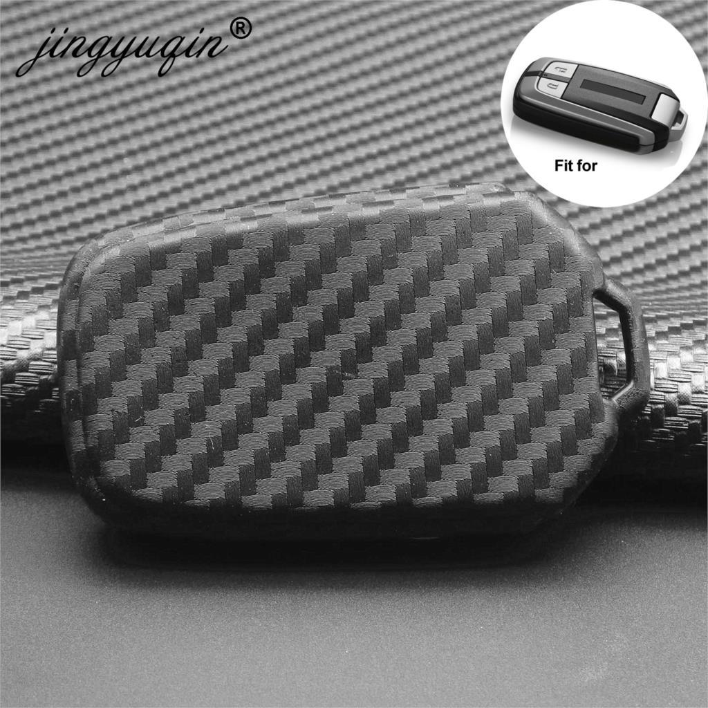 jingyuqin Carbon Fiber Pattern Soft Silicone Car Key Fob Case For All New Isuzu D-MAX MU-X 3.0/ X-series Smart Key Ring Cover