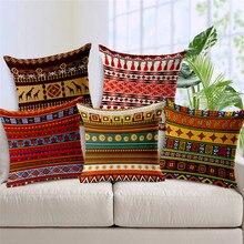 Housses de coussin géométriques Aztec   Colorées, Style ethnique africain, pour femmes, housse doreiller, décoration de maison, canapé siège, lin, Almofada