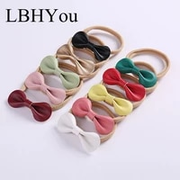 5pcslot newborn baby pu leather nylon headbands sweet round knot elastic nylon hairbands infant stretchy bows hair accessories