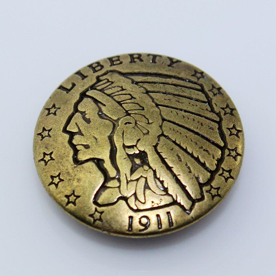 (KBC03) Wholesale 50pc 7/8 RERODUCTION Indian Head COIN CONCHO Antique-Bronze