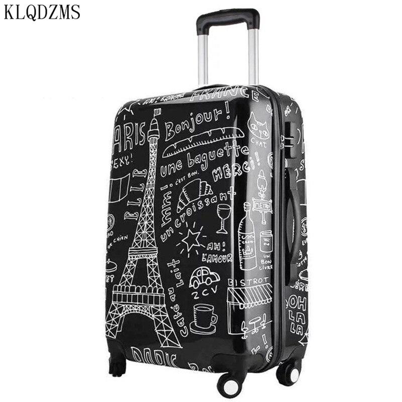 KLQDZMS 20/24/28 pulgadas patrones París de moda Rolling equipaje Spinner maleta viaje bolsa sobre ruedas