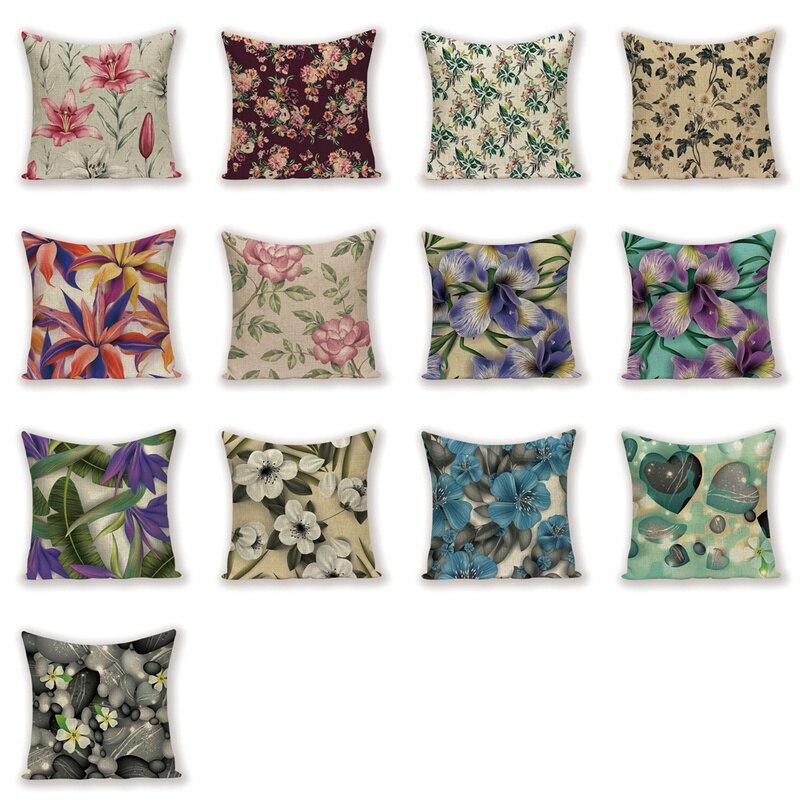 Fundas decorativas para cojines Vintage, fundas de sofá Shabby Chic para primavera, fundas de almohada, almohadas para decoración de hogar, almohada de lino