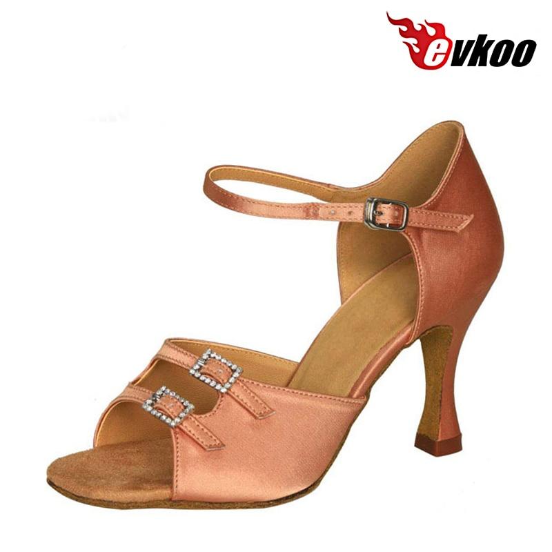 Evkoodance Satin Mit Schnalle Frau Latin Ballroom Dance Schuhe Schwarz Khaki Vier Farbe Für Diese Schuhe 7 cm Ferse Evkoo-030