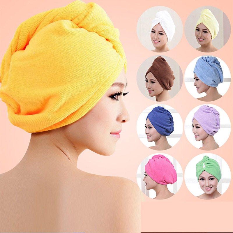1pcs Microfibre After Shower Hair Drying Wrap Womens Girls Lady's Towel Quick Dry Hair Hat Cap Turba