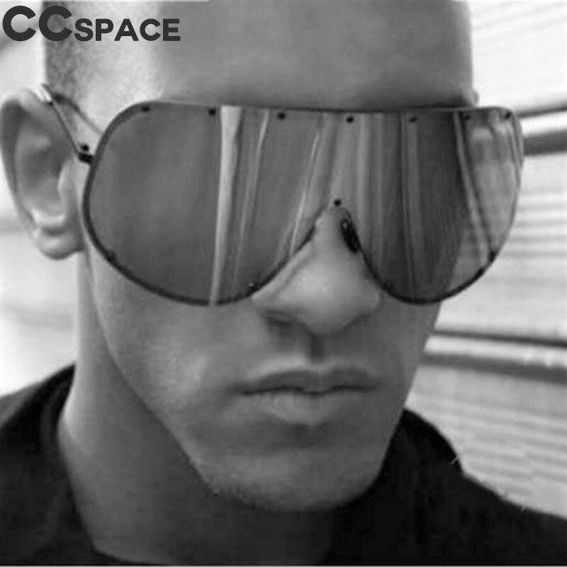 47860 Polarized Men Women Oversize Sunglasses Fashion Goggle Shades UV400 One Piece Lens Vintage Glasses