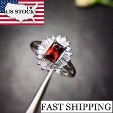 Anillo granate Uloveido en existencias en EE. UU., Plata de Ley 925, 4x6mm certificado de forma ovalada, Gema roja, joyería de boda para mujeres FJ212