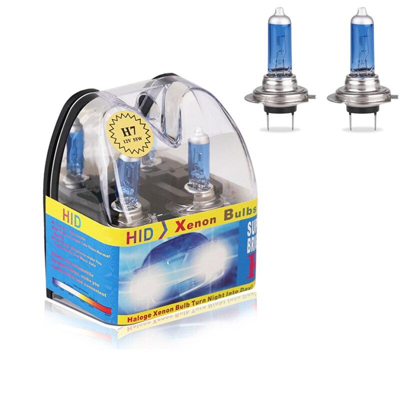 Ampoule halogène 6000k H7 55W   2 pièces/1 paire de phares Super brillants blancs, Source de lumière de voiture, avec boîte demballage de détail