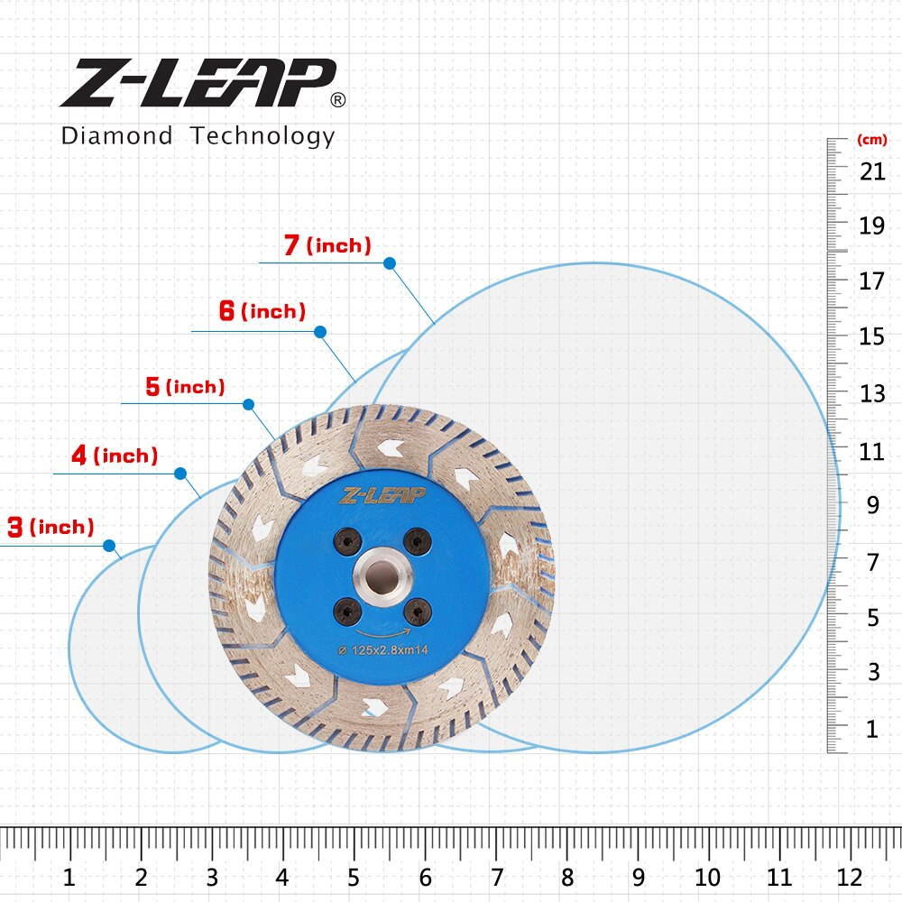 """Z-LEAP 5"""" Diamond Saw Blade Granite Marble Concrete Stone Cutting Disc 125mm Double Side Grinding Wheels Wet Use With M14 Thread"""