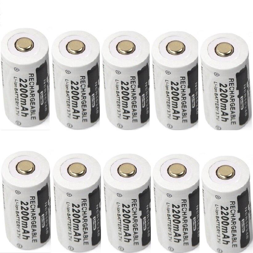 10pcs/lot 3.7v 2200mAh CR123A rechargeable lithium battery 16340 battery
