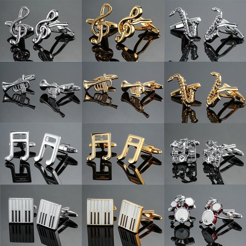 Novidade moda camisa abotoaduras para o presente dos homens Da Marca do manguito botão guitarra Música tambor piano Trompete manguito link de Alta Qualidade jóias
