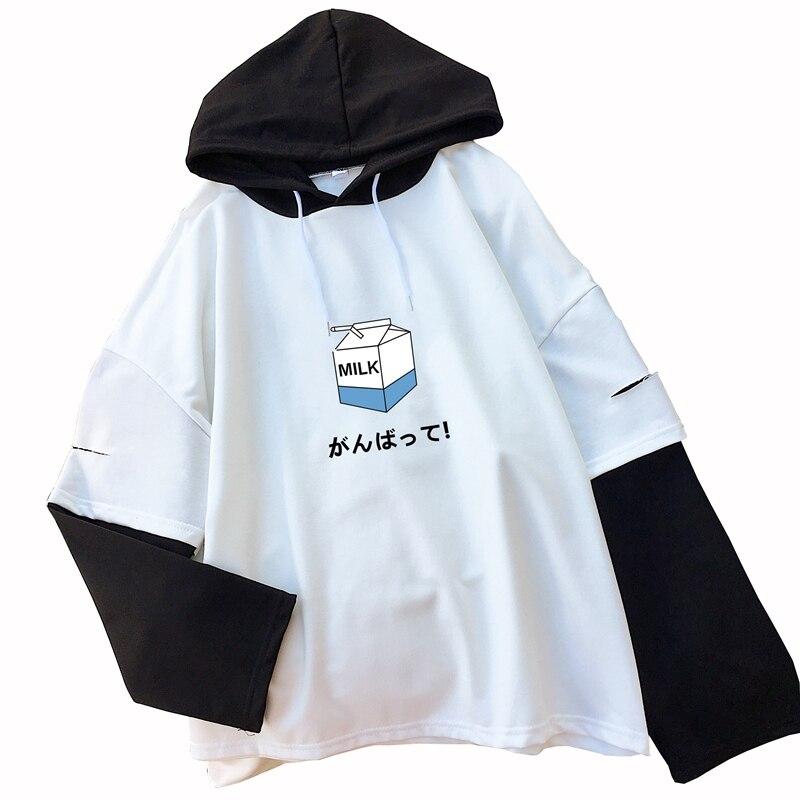 2018 Casual Kawaii Milk Print camiseta mujer coreana Raglan manga larga empalme Tops Harajuku suelta falso dos piezas con capucha camisas