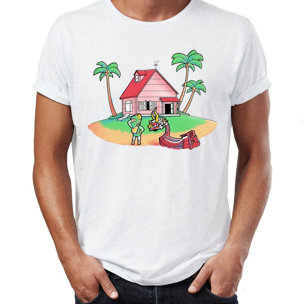 Los nuevos hombres de la camiseta de enlace perdido Zelda Wind Waker de la bola del dragón del Crossover camiseta de videojuegos Hip Hop camisetas Tops jóvenes Harajuku Streetwear