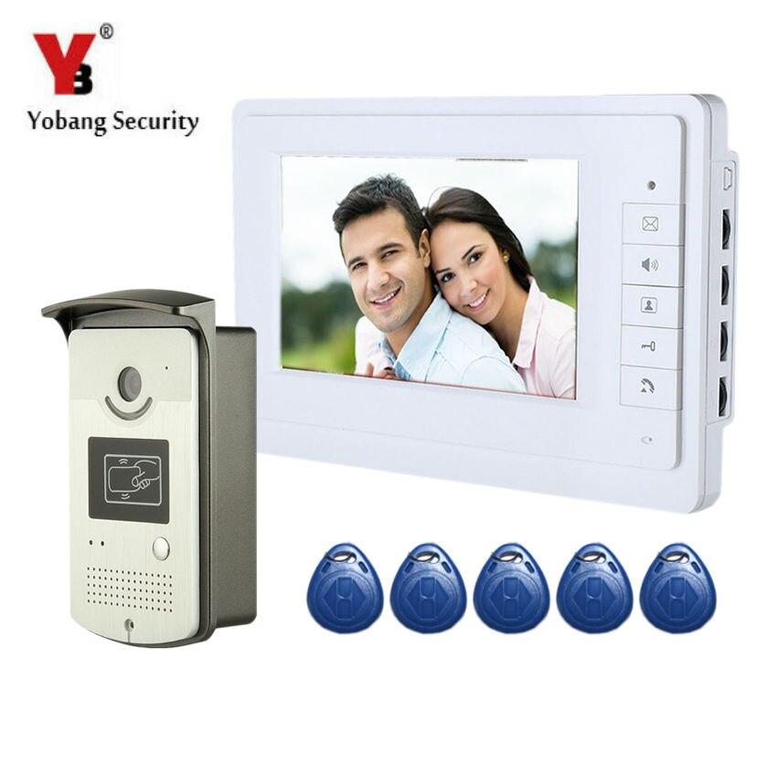 Videoportero YobangSecurity con cable LCD de 7 pulgadas, intercomunicador RFID, control de acceso con tarjeta, sistema de entrada de puerta de casa para apartamento