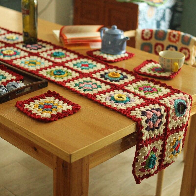 Pastoralen Bunte Tisch Flachen tisch runner Handgemachte Hand Süchtig Häkeln Decke Kissen Filz Bay Fenster Decke Geschenk tasse matten