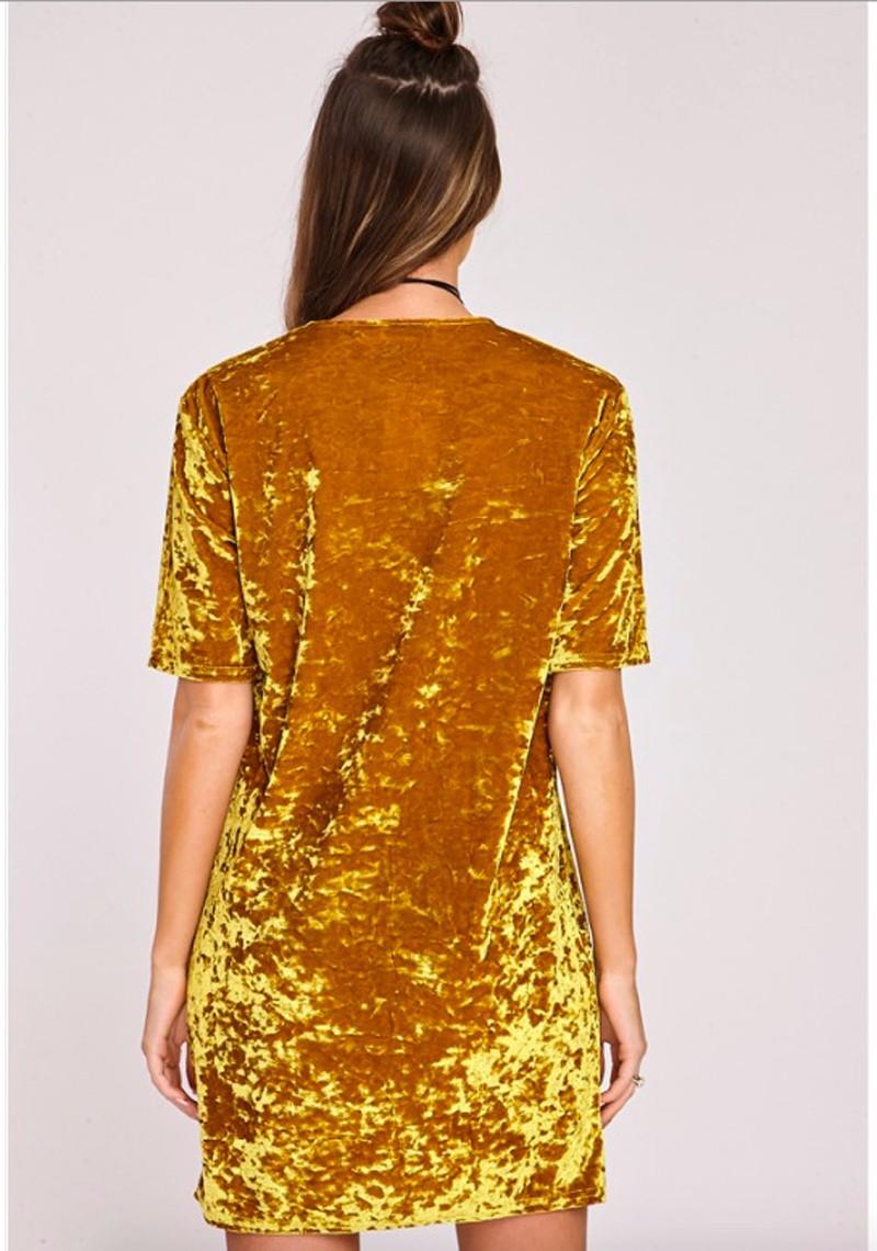 Short Sleeve Velvet Short Casual Dress 14