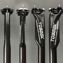 TOSEEK Bicicleta Carbono Selim MTB Bicicleta de Estrada Assento Quebra Vento Selim de carbono 27.2/30.8/31.6*350 ou 400mm