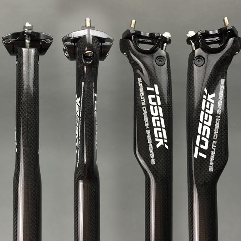 TOSEEK Carbon Bike Seatpost MTB Road Bike Seat Breaking Wind Carbon Seatpost 27.2 / 30.8 / 31.6 * 350 or 400mm